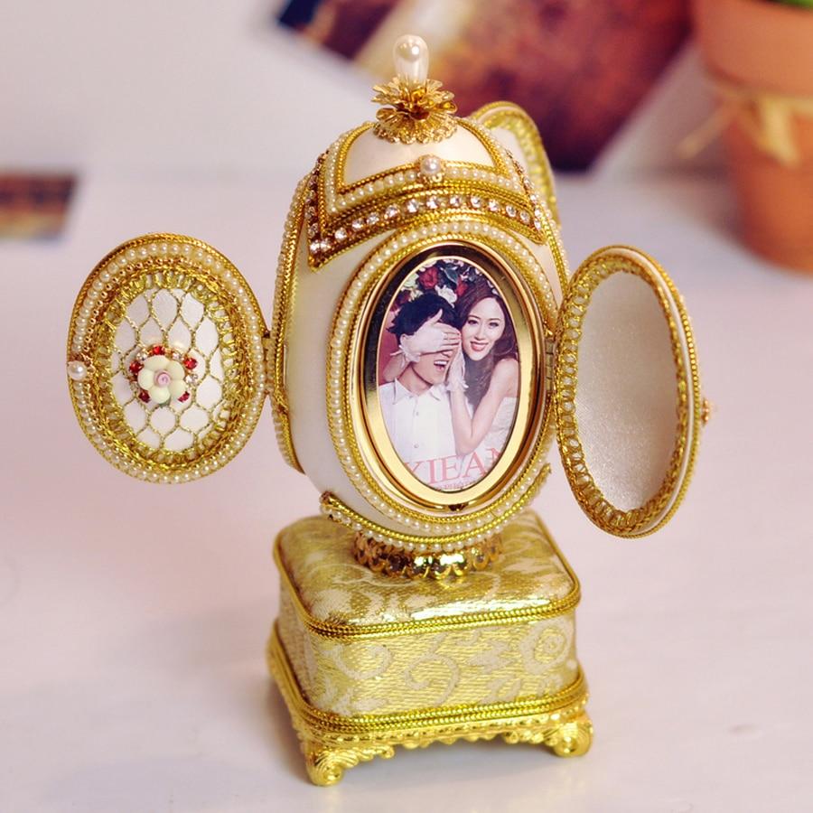 Deluxe Eggshell Carving Mini Music Box Photo Box Musical Boxes for Noble Wedding Princess Love Girls Girls Prezenty na Walentynki