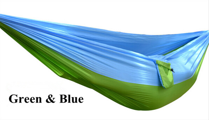5 Colors Hammock Double Portable Parachute Nylon Fabric Hammock for Travel Camping Outdoor Large Garden Hang Swing 270x140CM 270x140cm portable parachute hammock nylon double swing bed for camping hiking travel