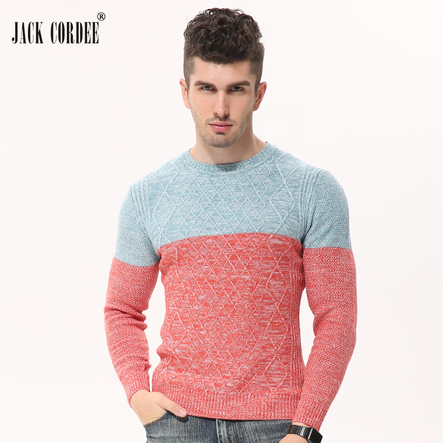 JACK CORDEE 2017 Autumn Winter Fashion Patchwork Knitted Sweater Men O-Neck Slim Pullover Casual Sweaters Homme Knitwear