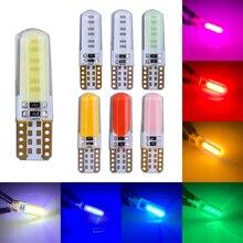 100 sztuk/partia w5w led Canbus silikon Cob T10 194 168 W5W LED wnętrze żarówki światła Parking płyta lampy lampy bez błędu 12v