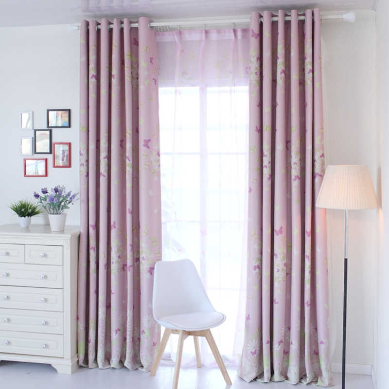 Pink Butterfly Curtain for Living Room Kids Room Floral Design Window Bedroom Drapes Sheer Fabrics Rustic Cortinas X476 #30