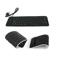 NEW Portable USB Mini Flexible Silicone PC Keyboard Foldable For Laptop Notebook Black 17OTC21
