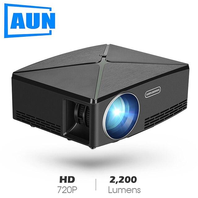 AUN MINI Projecteur C80 UP, 1280x720 Résolution, Android WIFI Proyector, LED Portable HD Beamer pour Home Cinéma, En Option C80