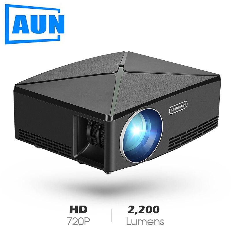 AUN MINI Projetor C80 UP, Resolução 1280x720, Android WIFI Projetor, portátil LED HD Beamer para Home Cinema, Opcional C80