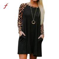 Feitong USPS Nowy Sexy czarne Eleganckie Kobiety Leopard Print Casual Wieczorne Party Mini Suknia Z Długim Rękawem bodycon kobiet szata sukienka