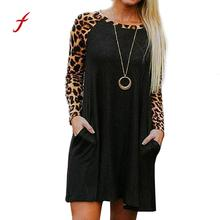 feitong USPS New Sexy black Elegant Women Leopard Print Casual Long Sleeve Evening Party Mini Dress