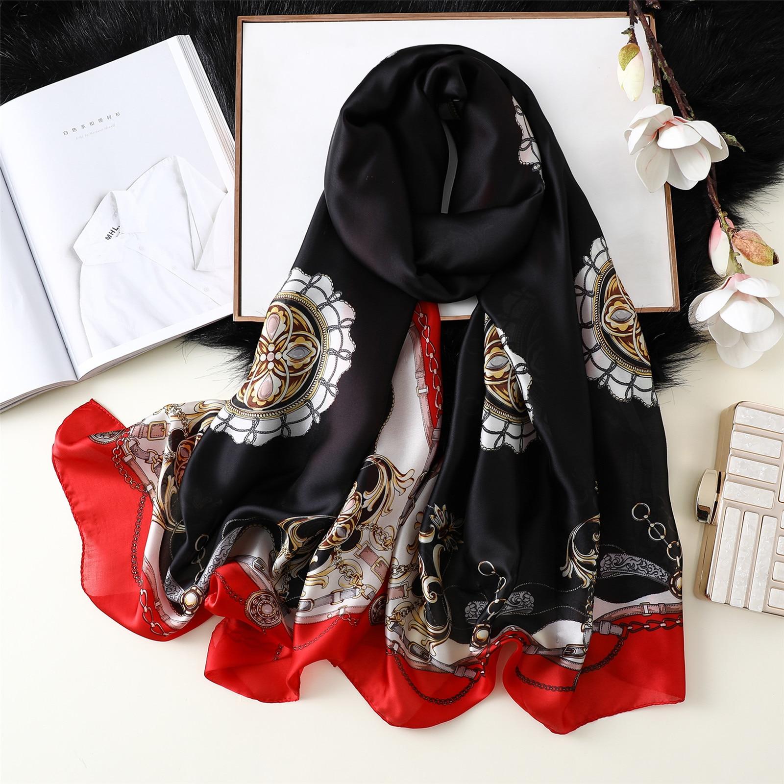 2019 Luxury Silk   Scarf   Women Print Female Foulard Hijab Scarfs Summer Lady Shawl Beach Cover - ups   Scarves     Wraps   Neck Headband