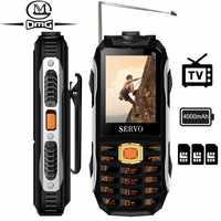 SERVO MAX teclado ruso TV teléfono móvil 4000mAh batería 2,4 tres tarjetas SIM cambio de voz teléfono móvil banco de energía los teléfonos