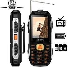 """サーボ最大ロシアキーボード tv の携帯電話 4000 mah バッテリ 2.4 """"3 SIM カードを変更する携帯電話電源銀行電話"""