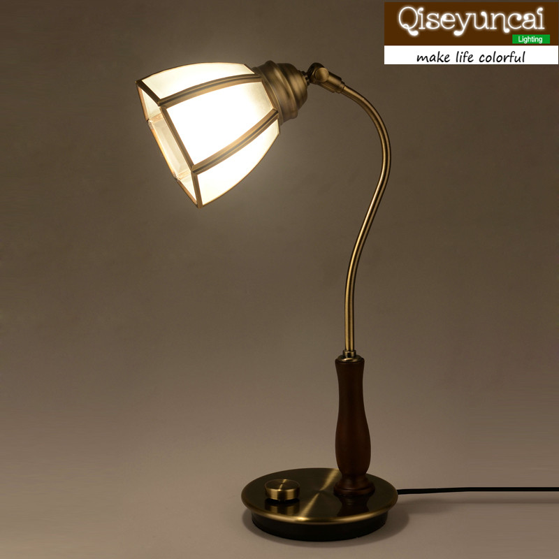 Qiseyuncai 2018 new European Pure Copper Lampshade Classical Desk lamps Study Simple Bedroom Headboard Glass Table Lamp