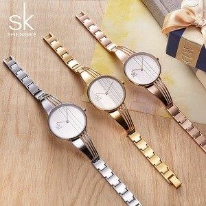 Image 3 - Shengke Fashion Gold plated Women Watches Charm Ladies Wristwatch Bracelet Quartz Watch Women Montre Femme Relogio Feminino