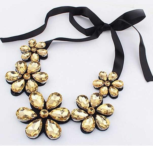 2016 nowych moda elegancka czeska czarna wstążka naszyjniki Big żywica Rhinestone Crystal kwiaty naszyjniki dla kobiet