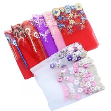1meters/lot 18-22cm Flower Mesh Embroidery Afican Lace Fabric Trim Ribbons DIY Sewing Garment Handmade Materials Accessories