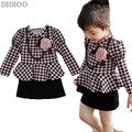 Girl dress 2016 spring autumn long sleeve brand print plaid baby kids clothes Houndstooth princess party dresses for girls 2-10Y