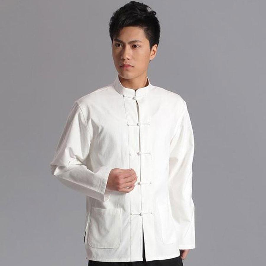 Umorden с длинным рукавом Хлопок Традиционный китайский костюм Тан костюм топ для мужчин Кунг фу Тай Чи Униформа Рубашка блузка пальто для