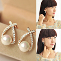 Women's White Faux Pearl Ear Studs Earrings Cross Crystal Wedding Jewelry Gift  74FM S239