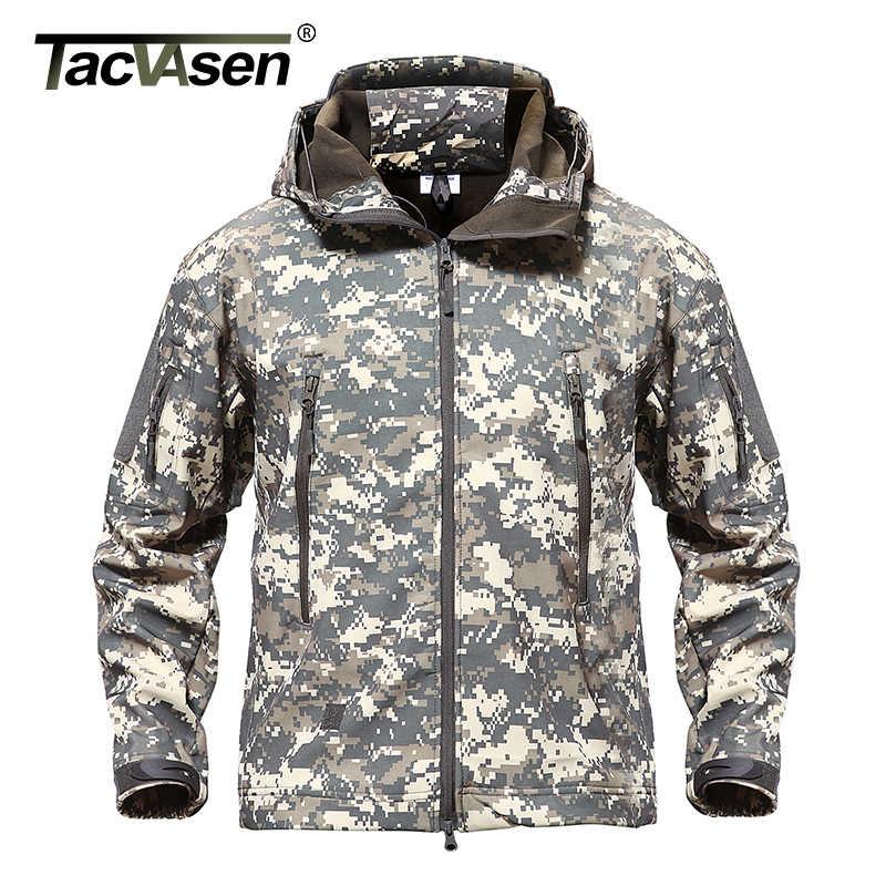 TACVASEN jaqueta militar corta vento masculina, à prova d'água roupas táticas camufladas exército caça airsoft inverno