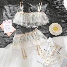 Gwiazda trzyczęściowy biustonosz majtki spódnica z pas do pończoch 3 sztuka komplet bielizny piersi wytrzeć bielizna koronkowa cienka siatka zestawy do pończoch