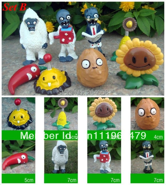 Free shipping New 8pc Plants vs Zombies Figures PVZ Toys Game Ornaments PVC Figurines Vinyl Dolls Sunflower Zombie Yeti Set B