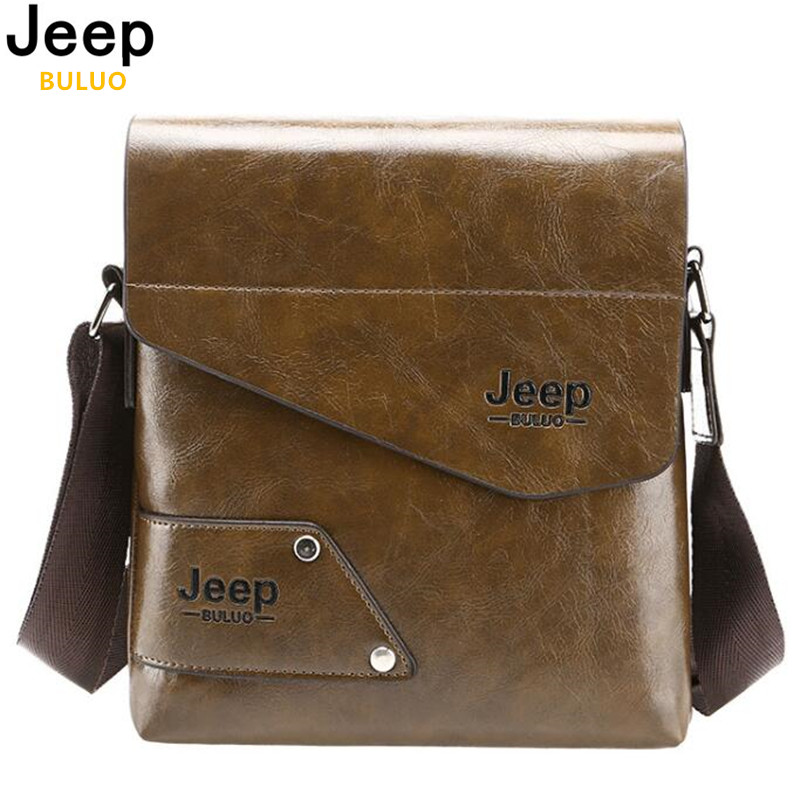 JEEP BULUO Man Messenger Bag PU Leather Male Shoulder Bags Famous Brand Fashion Casual Business Men's Travel Bags For IPAD 204