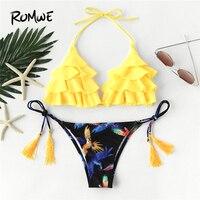 Romwe Sport Cute Bird Print Bikini Set Women Tassel Tie Halter Swimwear Sexy Beach Swimsuit 2018