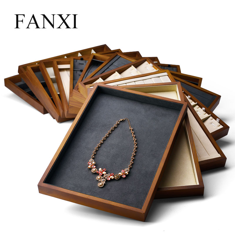 Fanxi  New Wooden Jewelry Display Tray With Microfiber Ring Necklace Earring Bracelet Tray Stand For Showcase Jewelry Organizer