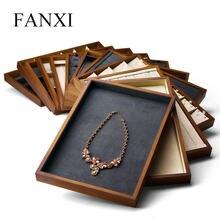 Fanxi exibição de jóias de madeira com anel de microfibra colar bandeja brinco pulseira expositor jóias organizador bandeja vitrine