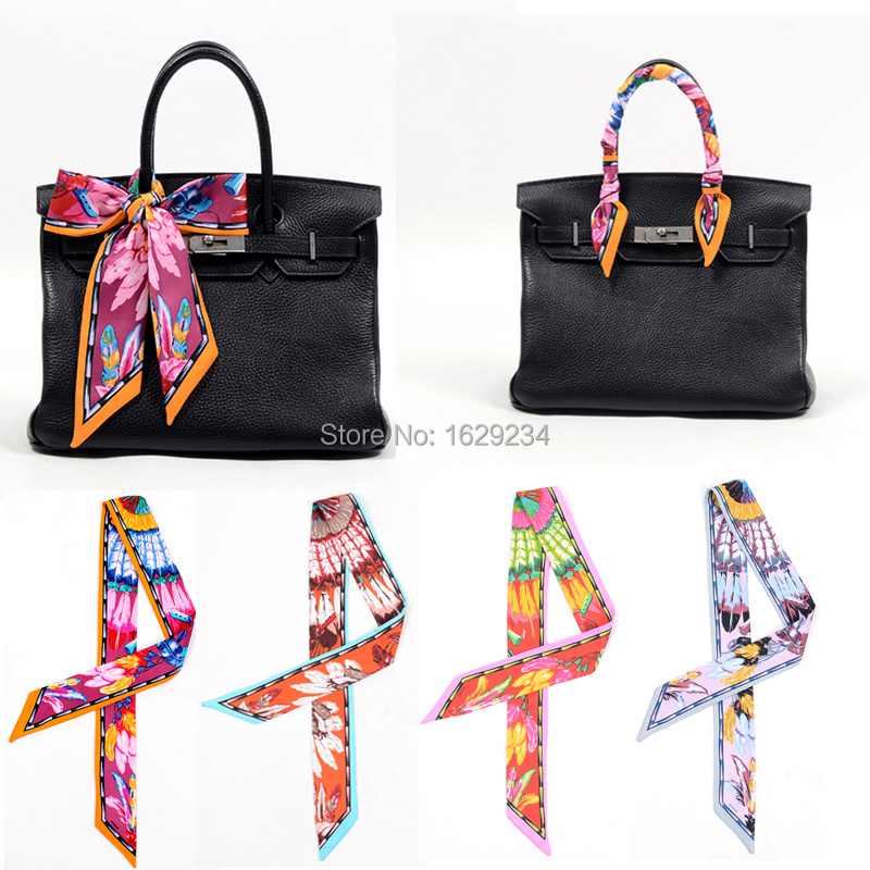 2017 Whole High Quality Lady Silk Cotton T Scarf Bags Handle Echarpes Printed Scarves Small Ribbon Hair Band Bandeaus In From Women S