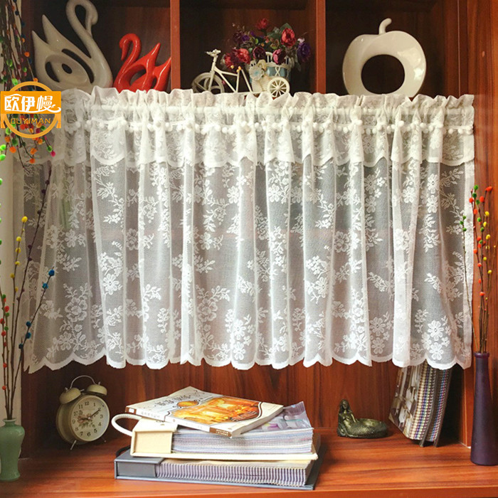 US $10.26 46% OFF|Customized White Half Curtain Pastoral Short Coffee  Curtain for Kitchen American Nordic Small Cabinet Curtain with Pompom  Balls-in ...