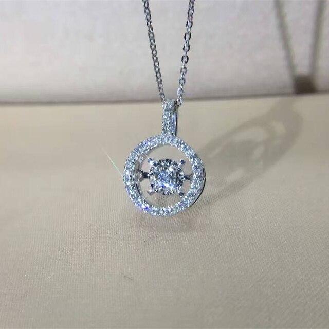 LASAMERO Halo 0.2cttw Real Diamond Pendant Accent Diamonds Pave Set 18k White Gold Natural Diamond Pendant Necklace
