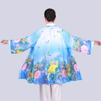 Tai Clothing Covered Woman Spring Summer Love And Flower Snow Gradual Change Draped Sunscreen Tai Chi Veil Performance Male фото