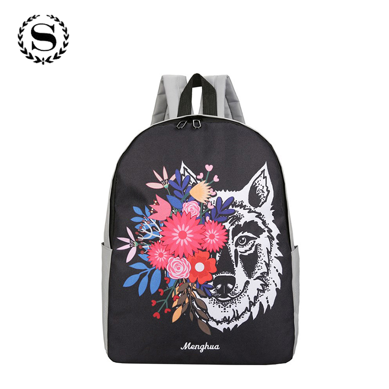 SCIONE Casual Women Backpack Cute Cartoon Animal Printing Backbag for Teenage Girls Canvas Wolf Cool Travel Bag Preppy Style