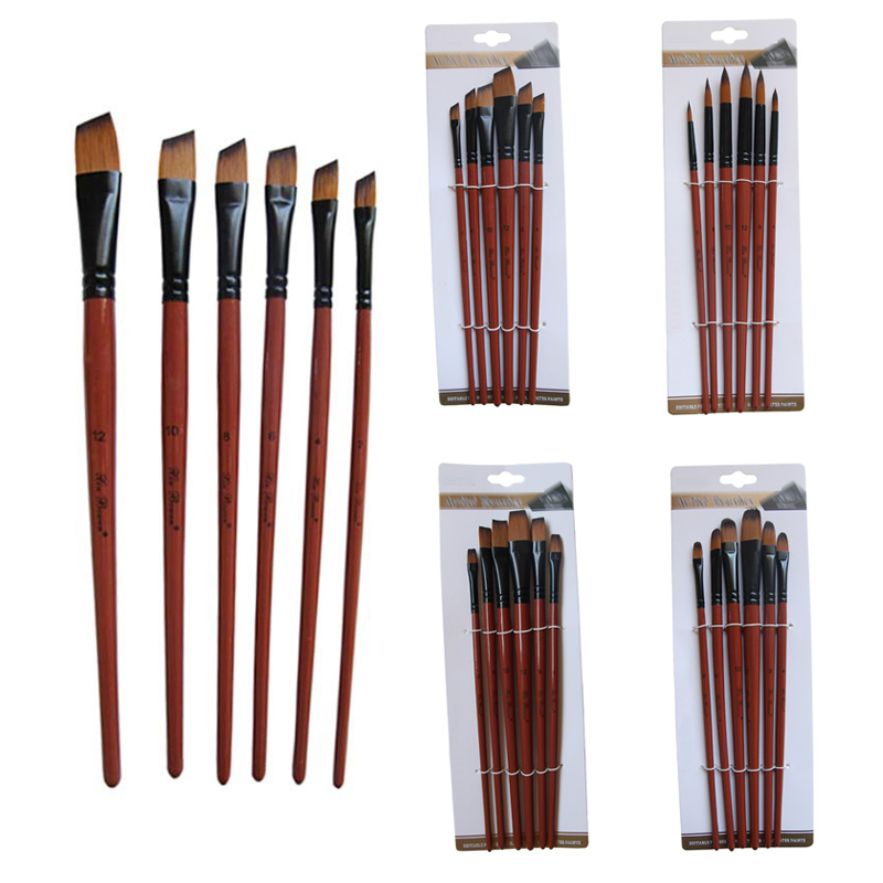 6 Pcs Painting Craft Nylon Hair Brown Pen Brushes Art Model Paint Artist Paint Brushes Set Acrylic Oil Watercolour