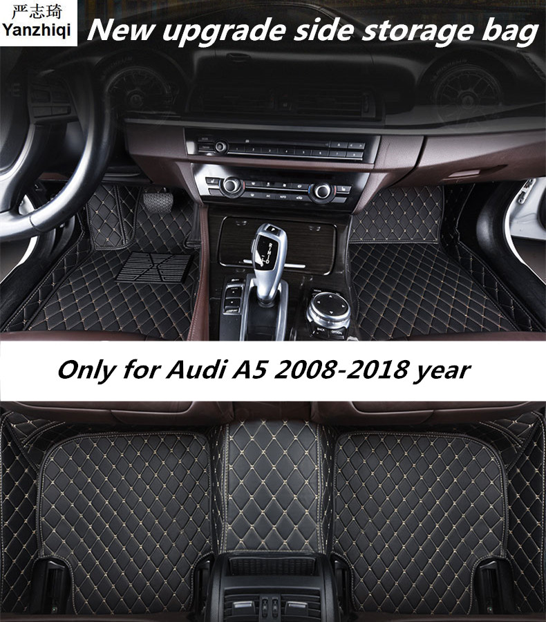 Upgrade leather car floor mats for Audi A5 2008 2009 2014 2015 2016 2017 2018 Custom auto foot Pads automobile carpet covers