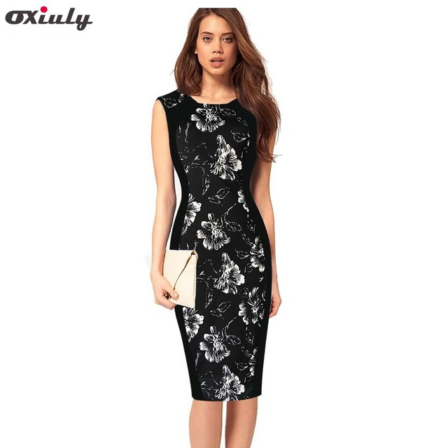 0860786c2657c US $23.99 |Oxiuly Fashion Summer Women Striped Print Sleeveless Patchwork  Slimming Stretchy O Neck Knee length Pencil Dress Casual Dresses-in Dresses  ...