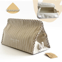 1pc Pack Tissue Paper Case Cover Natural Cotton And Linen Stripe Facial Tissue Holder Waterproof 25