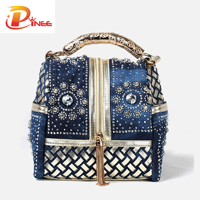 Hot 2016 Designer Woven Women Handbag Famous Brand Rhinestone Totes Shoulder bag Luxury Bags