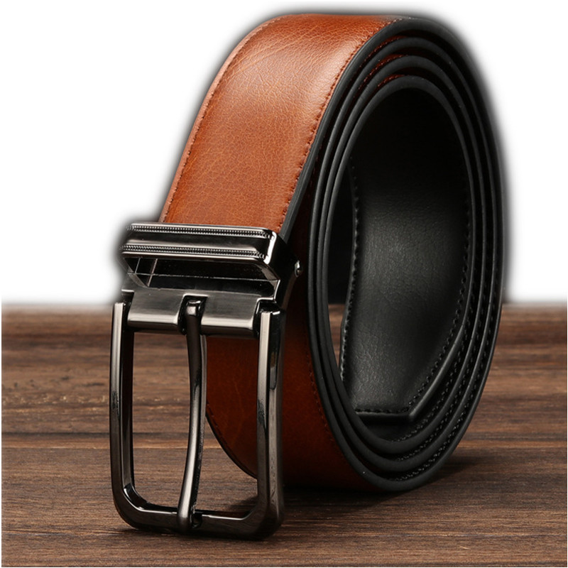 EL BARCO 2018 High Quality Leather Men   Belt   Casual Black Brown Male   Belt   Luxury Design Double-sided Strap   Belts   For Men Cinturon
