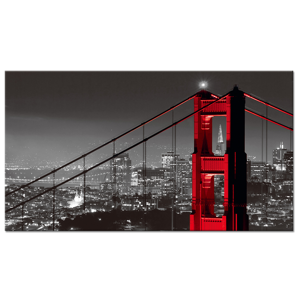 Us 42 29 10 Off 1 Piece Canvas Wall Art Golden Gate Bridge In San Francisco Landscape Black And Red Modern Home Decor Poster Prints 20x36inch In