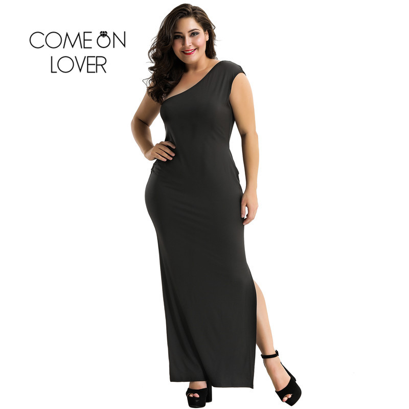 b07524a8a62 Comeonlover Black One Shoulder Plus Size Dress Wholesale Sexy Club Womens Dress  Slit Party Christmas Dress Women RI70331-in Dresses from Women s Clothing  ...
