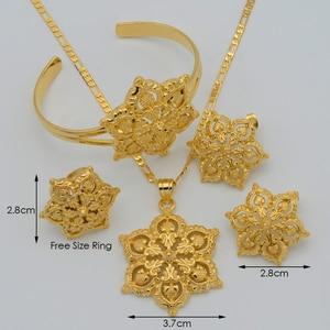 Image 2 - Anniyo Flowers set Jewelry Women Gold Color Pendant Necklace/Earrings/Ring/Bangle African/Arabian/Ethiopian Jewellery #047106