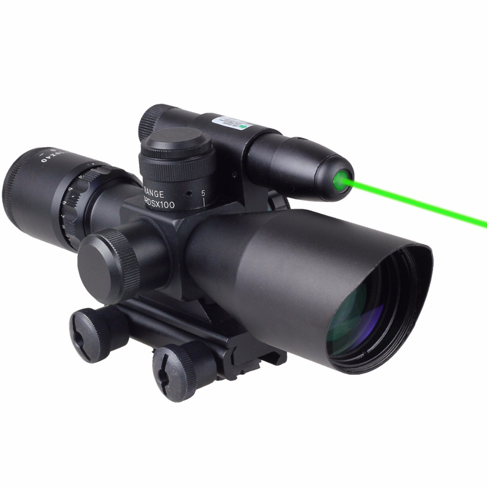 ФОТО VERY100 NEW Tactical Green Laser Sight 2.5-10x40 Rifle Reflex Scope Red Green Mid-Dot 20mm Free Shipping!