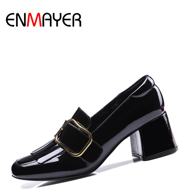 ФОТО ENMAYER New High Heels Women Pumps Square Heel Spring&Autumn Fashion Patent Leather Metal Decorations Black&Rose Pumps for Women