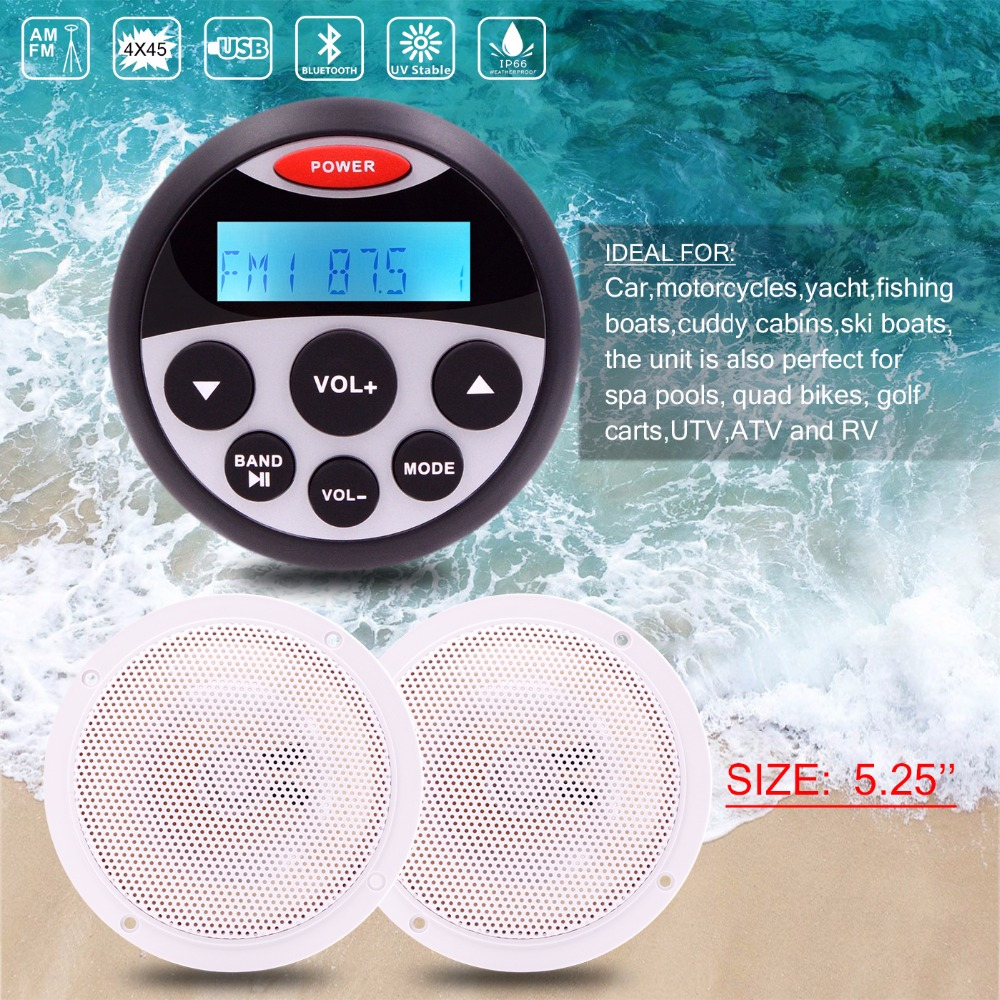 Waterproof Marine Stereo Bluetooth Audio FM AM Radio Receiver MP3 Player 5.25 Marine Speakers For UTV ATV Yacht Motorcycle Boat аквабокс ewa marine d am