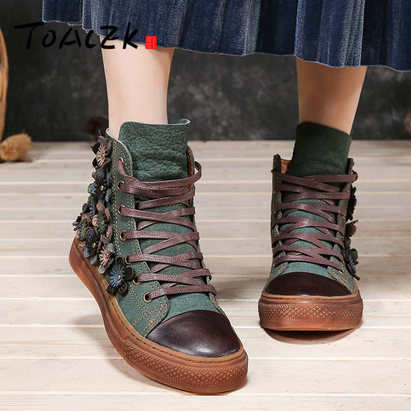 Autumn and winter new top layer cowhide leather high-top skateboard shoes Sen female art retro flat boots