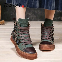 Skateboard-Shoes Flat-Boots High-Top Cowhide Winter Sen Top-Layer Art And Retro Autumn