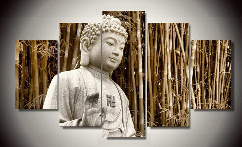 2016 framed art buddha painting modern abstract wall canvas art room decor print painting 5 pcs