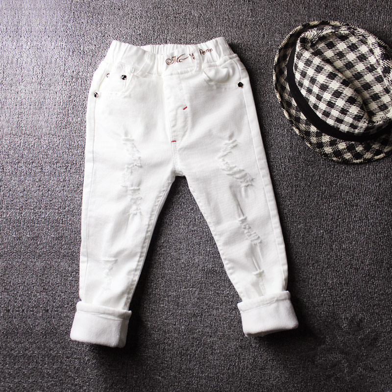 Image 2 - 2019children's jeans boy white casual pants in the big children spring and autumn girls Slim pants pants baby holes-in Pants from Mother & Kids