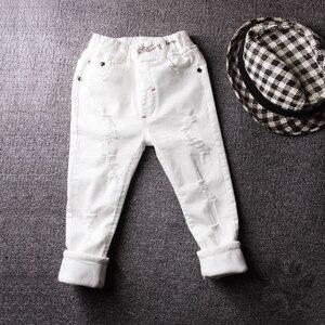 Image 2 - 2019childrens ג ינס ילד לבן מכנסי קזואל הגדול ילדי אביב ובסתיו בנות Slim מכנסיים מכנסיים תינוק חורים