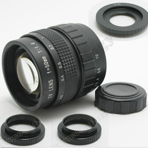 Fujian 50mm F1.4 CCTV TV Movie lens + C Mount to N 1 for Nikon 1 N1 V1 V2 J1 J2 (C-N1) with track number vorke v1 mount